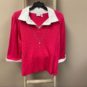 Hot pink sweater blouse w/ attached necklace NWOT